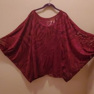 Lane Bryant Cranberry Sheer Top Size 22 24